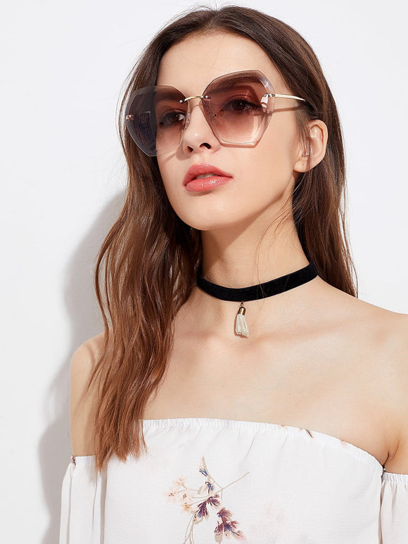 Rimless oversize fashion sunglasses