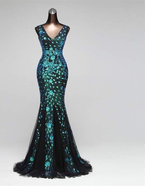 """Alizu"" peacock Sequins Elegant deep v long mermaid formal prom dance gown dress"