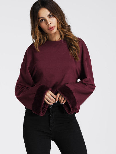 Ladies boho burgundy fur trim long sleeve top