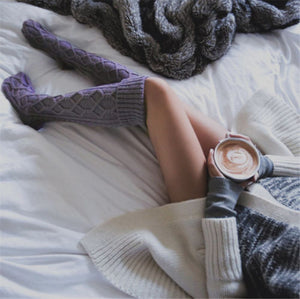 Warm Winter Wool Braid Cable Knit Over Knee boots Socks Stockings