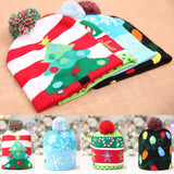 Light up Christmas beanie pom pom hat