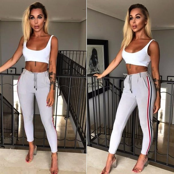 Chic Side Stripe drawstring pants