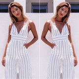 Trendy Stripe deep v jumpsuit