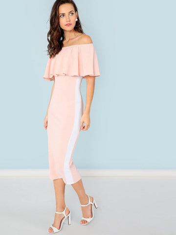 Classic off the shoulder ruffle bodycon dress
