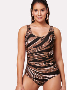 *PLUS SIZE* zebra style cross back plus size one piece monokini swimsuit