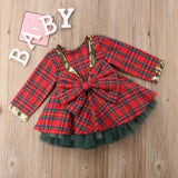 Baby kids Girl Plaid bow style tutu Christmas dress