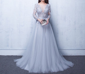Elegant sheer floral Lace detail tulle mesh long formal prom evening dress