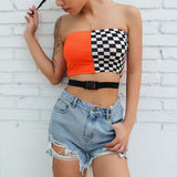 Colorblock checkered buckle tube crop top
