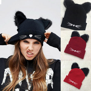 3D Cat ears knitted beanie hat