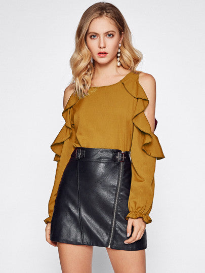 Ruffle cold shoulder fashion blouse