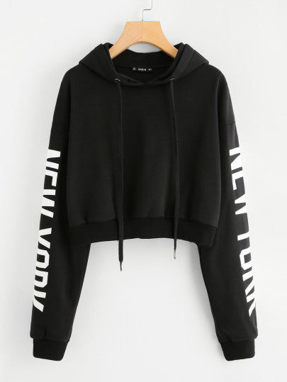 New York letter printed hoodie sweater