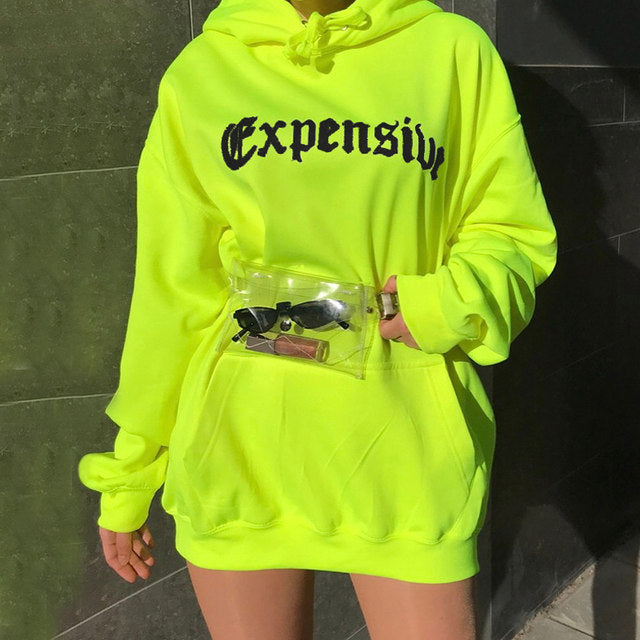 check out low priced sneakers Neon Expensive oversize baggy hoodie sweatshirt – Iconic Trendz ...