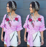 """Bella"" rose detail wrap bow tie blouse - Iconic Trendz Boutique"