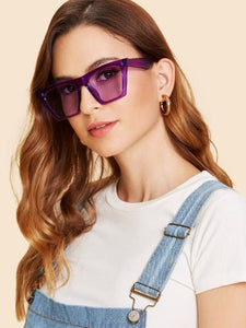 Square oversize color retro sunglasses
