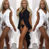 Blazing Ruffle high low bikini coverup dress