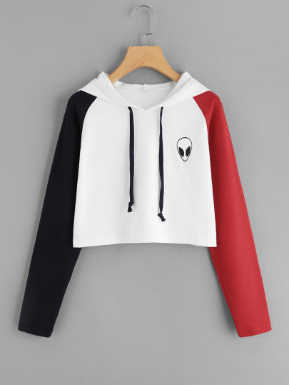 Red/Black Invasion alien contrast crop hoodie sweater