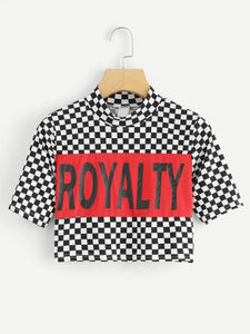 Checkered royalty sporty crop top