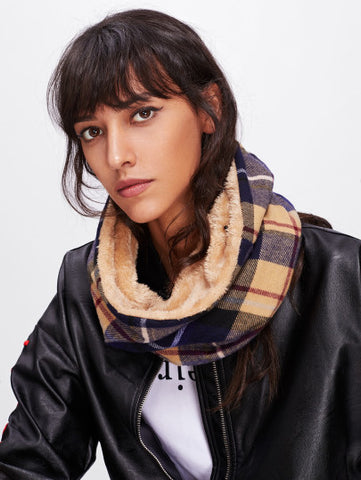 Plaid Warm fur lined infinity scarf