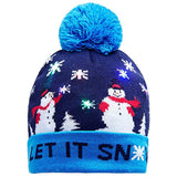 Light up Christmas Xmas beanie pom pom hat