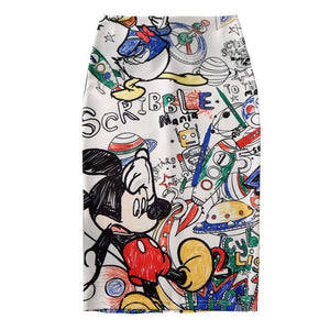 Classic vintage 90s comic cartoon fashion pencil skirt