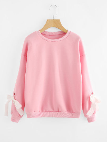 Chic loose fit tie sleeve pullover sweater