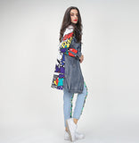 Comic Denim distressed long jacket - Iconic Trendz Boutique
