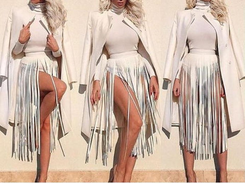 fringe tassel faux leather skirt belt boho hippie