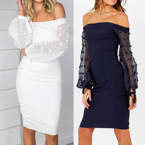 """Mira"" off the shoulder sheer sleeve bodycon dress - Iconic Trendz Boutique"