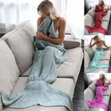 Mermaid tail style knitted comfy blanket