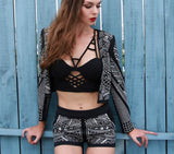 """All Bets"" studded design 2 pieces jacket shorts set"