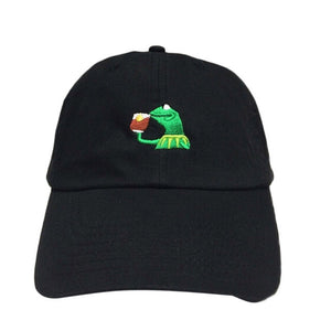 "Kermit ""sipping tea"" dad hat - Iconic Trendz Boutique"