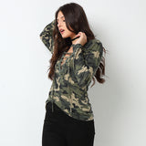 Army lace up front long sleeve top