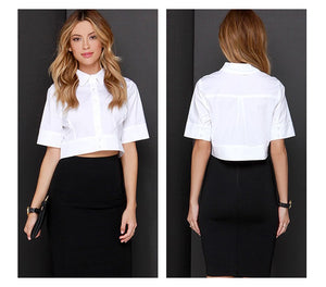 """Wallstreet"" Ladies lapel crop shirt"
