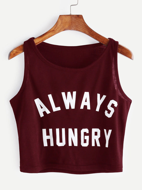 Always hungry crop tank top