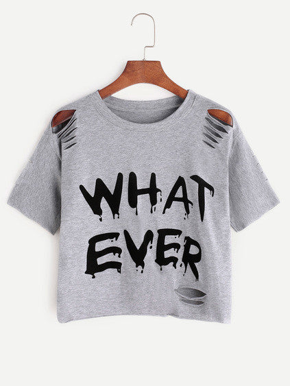 Whatever! distressed crop top - Iconic Trendz Boutique