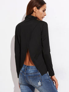 Split detail back long sleeve blouse