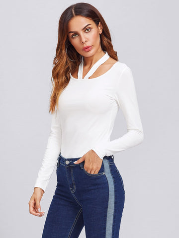 """Classic"" choker style long sleeve top"