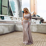 """Petunia"" 2pcs one shoulder crop and mermaid maxi skirt set"