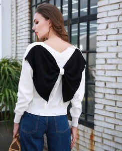Bow back detail pullover sweater