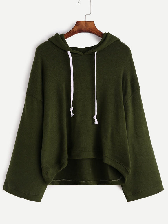 Ladies retro wide sleeve oversize hoodie sweater