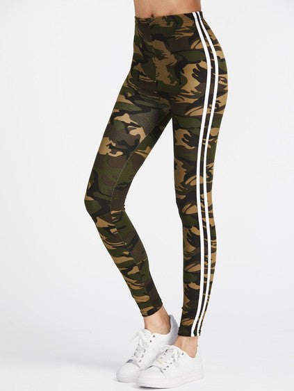 Camo stripe detail legging - Iconic Trendz Boutique