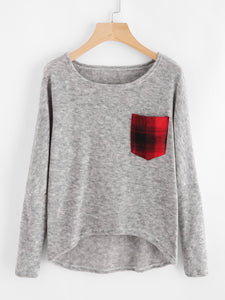 Plaid patch pocket oversize sweater