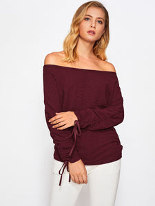 """One day"" off the shoulder tie sleeve top"