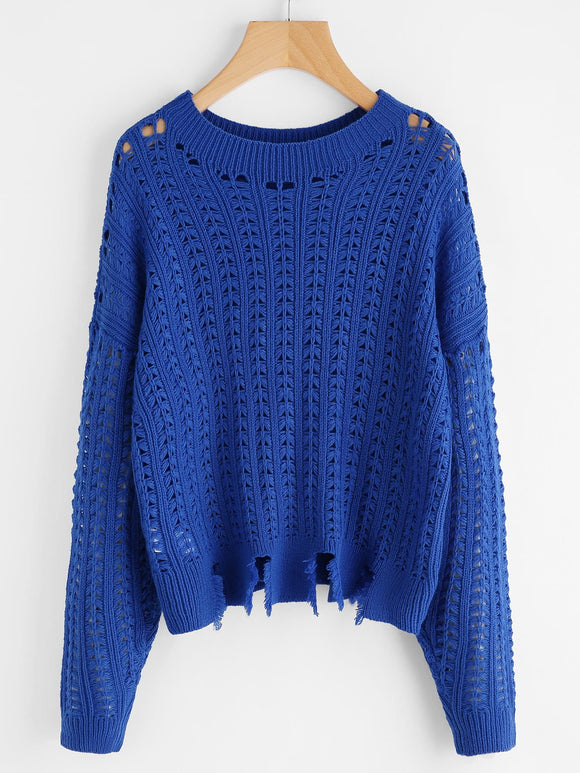 Blue Distressed knitted sweater
