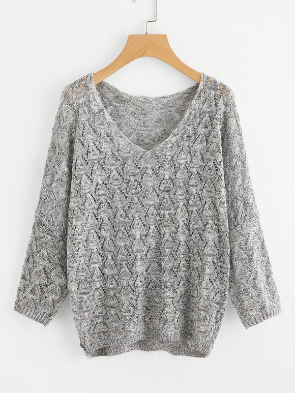 Loose fit v neck fashion sweater