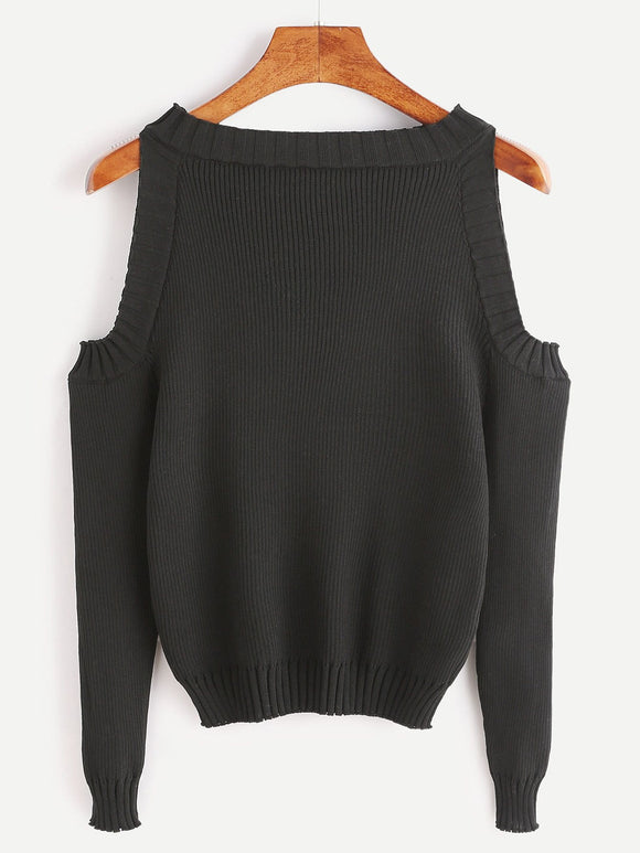 Cutout shoulder knitted sweater top