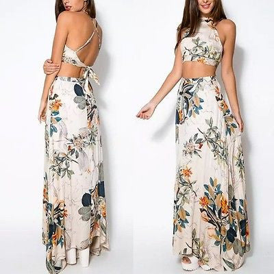 """Blossom"" floral 2 piece crop top skirt set - Iconic Trendz Boutique"