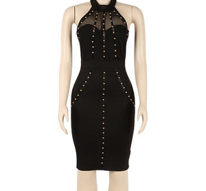 Sexy black studded halter bodycon dress - Iconic Trendz Boutique
