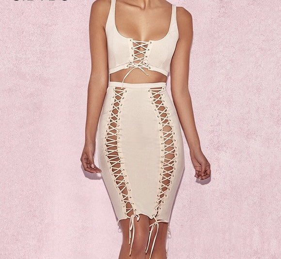 Sexy lace up detail 2 piece crop top skirt set - Iconic Trendz Boutique