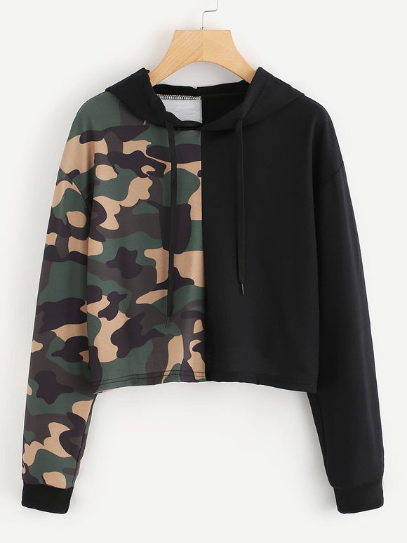 Camo panel pullover fashion sweatshirt